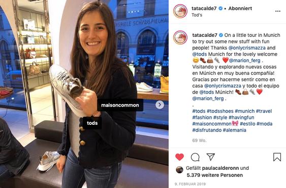 Tatiana Calderón endorsing Tod's