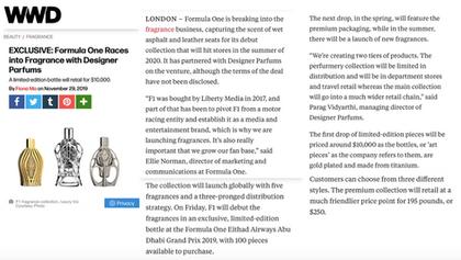 WWD | Ferg & Friends Public Relations | F1 Fragrances