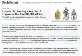 Robb Report | Ferg & Friends Public Relations | F1 Fragrances