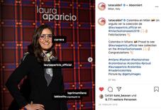 Tatiana Calderón at Colombian's fashion designer Laura Aparicio cocktail during Milan Fashion Week endorsing Carrera