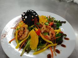 Salade de mangues et gambas