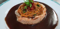 Mignon de saumon et julienne de légumes