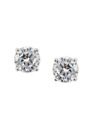 Silver Solitaire Stud Earrings
