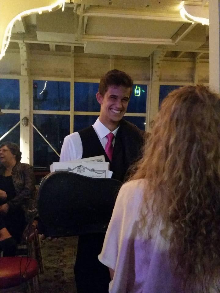 Hayden and his violin case