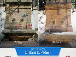 O Chafariz Dom Pedro II está passando por restauração solicitada pela Secretaria de Desenvolvimento