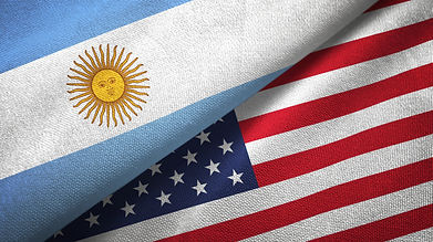banderas de Argentina y estados unidos juntas