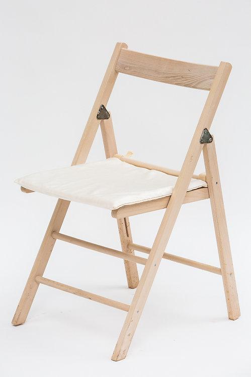 כסא מתקפל שמנת+כרית