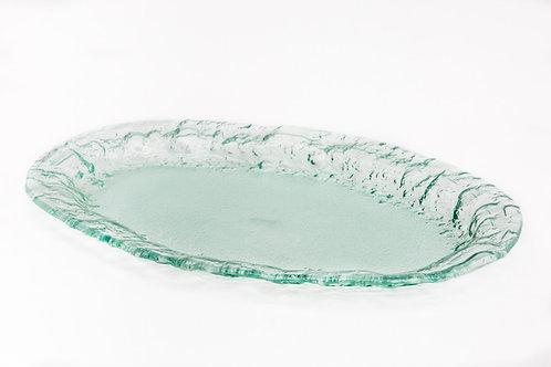 קערת זכוכית אליפסה עם דופן