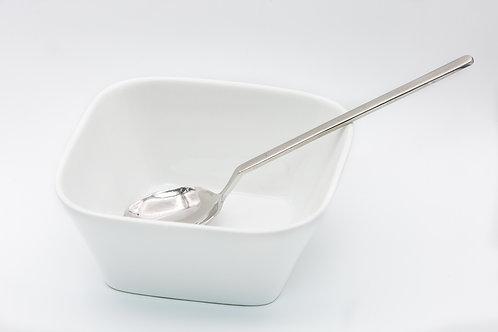 קערית מרובעת לבנה למרק