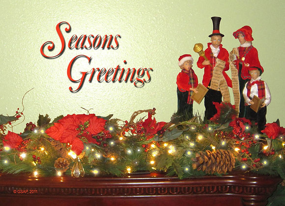 Country Mantel Christmas, Greeting Card (5 x 7)