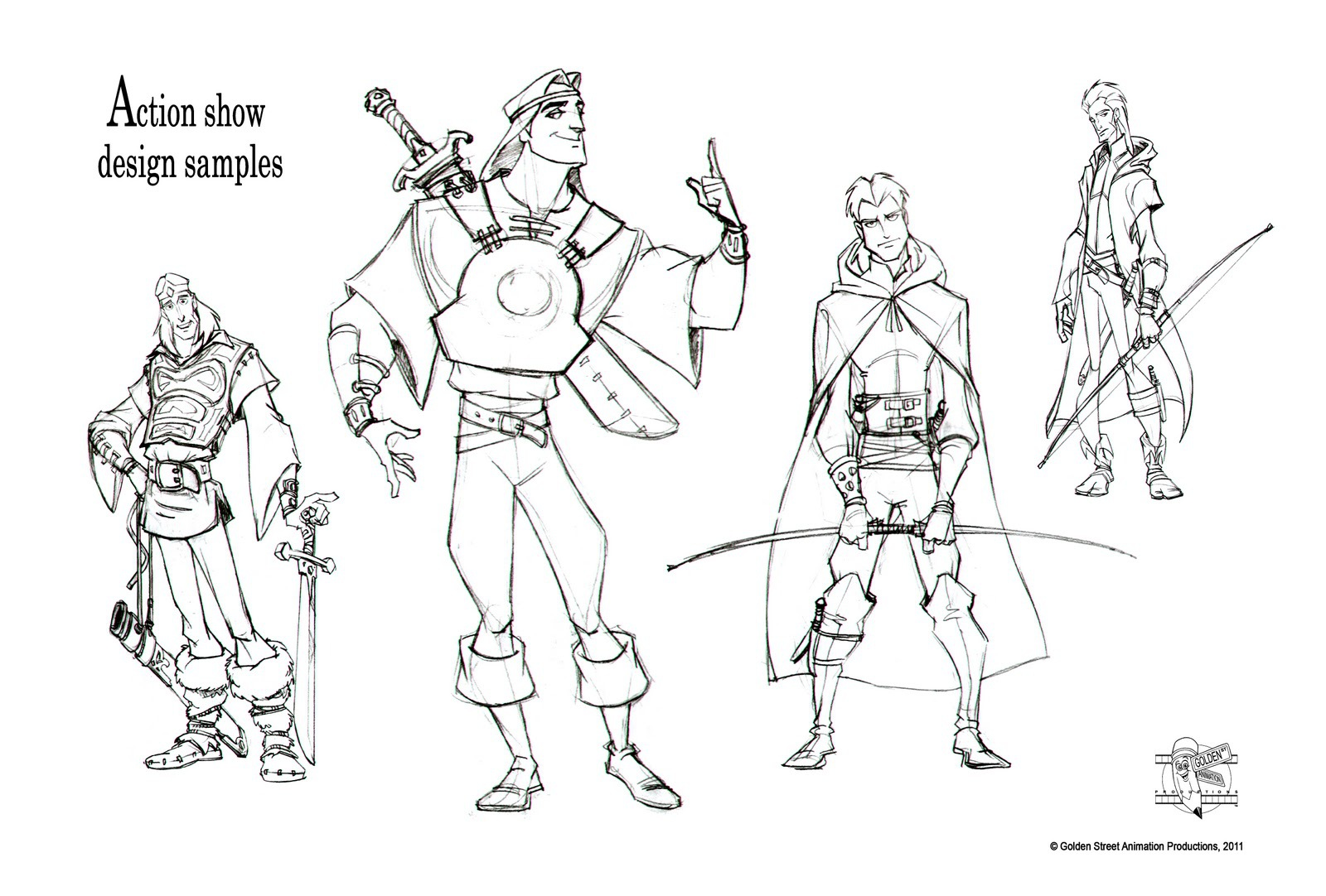 Action show character designs by GSA