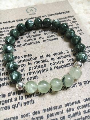 Bracelet Séraphinite et Quartz rutile vert