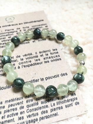 Bracelet quartz rutile vert et séraphinite