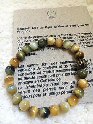 Bracelet magique oeil du tigre doré/bleu