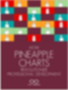 "Dark Purple Graphic with small teal, red, and green squaes with white outlines of poeple. Below the checkered squares it says ""How Pineapple Charts Revolutionize Professional Develoment. Cult f Pedagogy"