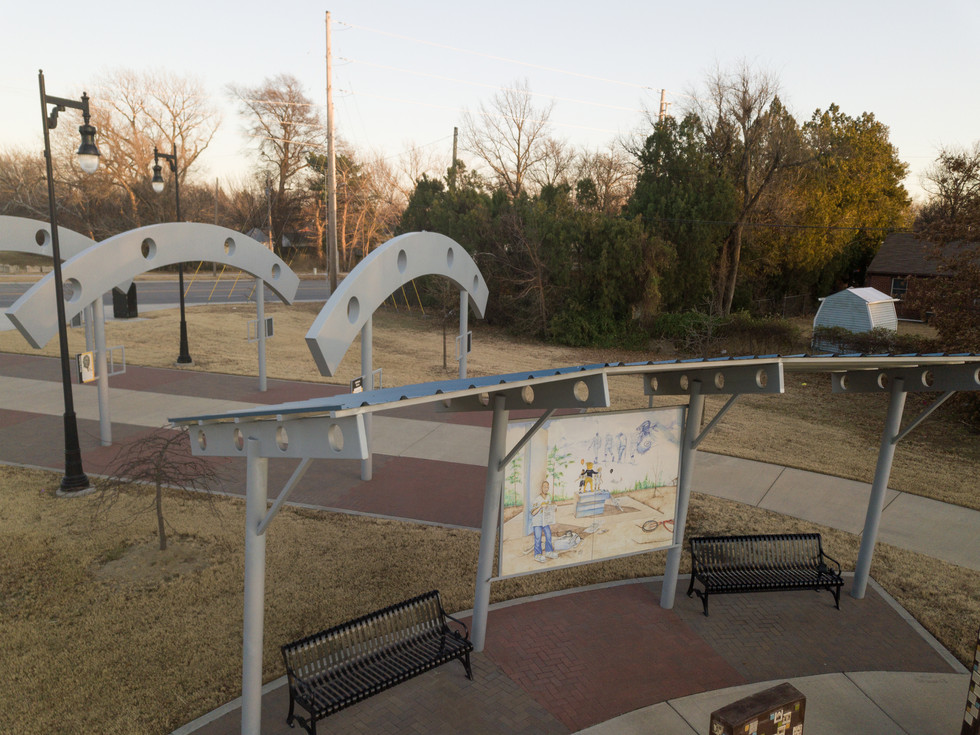 Decorative Painted Steel Arches & Shade Structure
