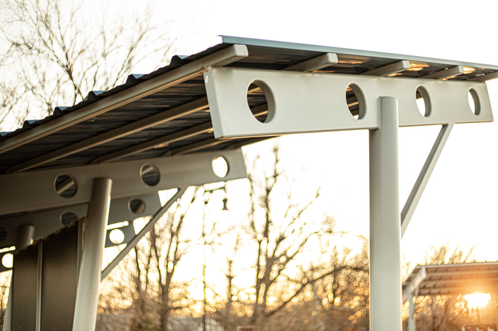 Painted Steel and Tin Shade Structure