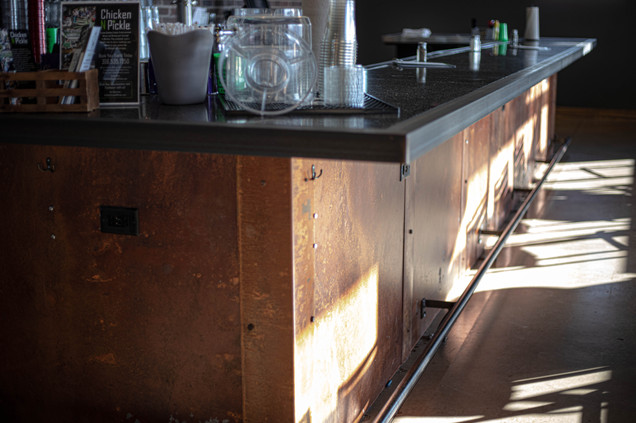 Custom Rusted & Clear Coated Bar with Footrail