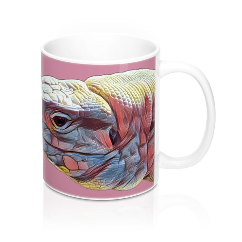 Polar Purple Tegu Lizard Design Mug 11oz, Tegu World, Tegu, Pink