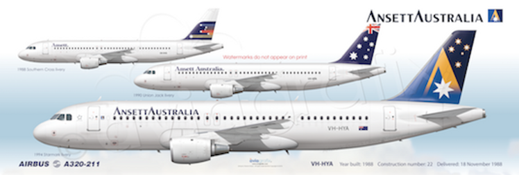 Ansett Airlines - Airbus A320-211 VH-HYA - 3 Liveries Panoramic