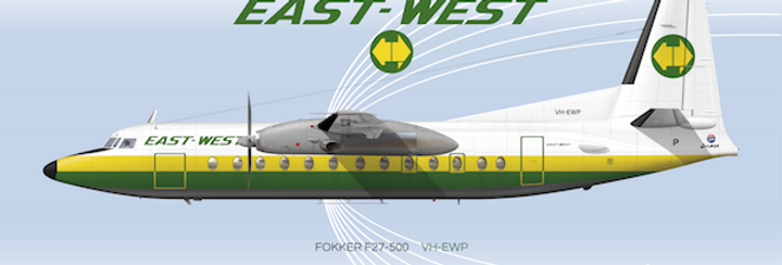 East-West Airlines - Fokker F27-500 - 1984 - DL Postcard