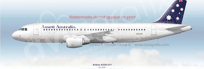 Ansett Australia - Airbus A320-211 VH-HYA - 1990 Livery