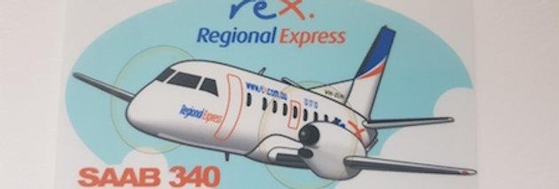 REX - SAAB SF340 - Cartoon Sticker