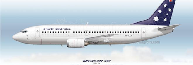 Ansett Australia - Boeing 737-377 VH-CZA - 1990 Livery