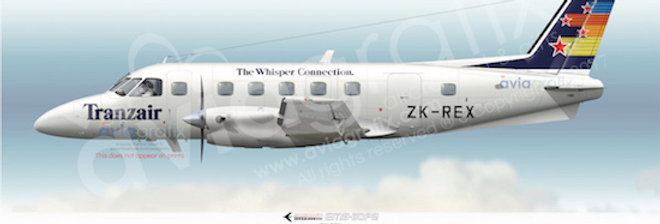 Tranzair - Embraer EMB-110P2 ZK-REX - 1991 Livery