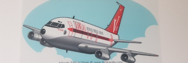 QANTAS - Boeing 707-300C - Cartoon Sticker