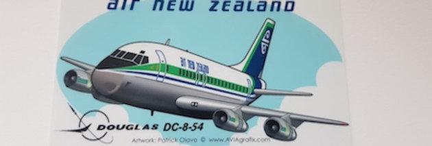 Air New Zealand - Douglas DC-8-52 - Cartoon Sticker