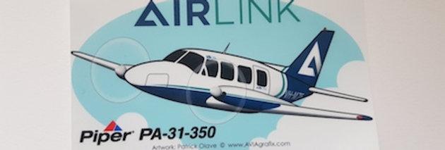 Airlink - Piper PA31-350 - Cartoon Sticker