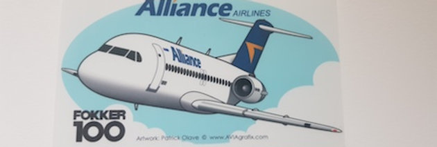 Alliance Airlines - Fokker 100 - Cartoon Sticker
