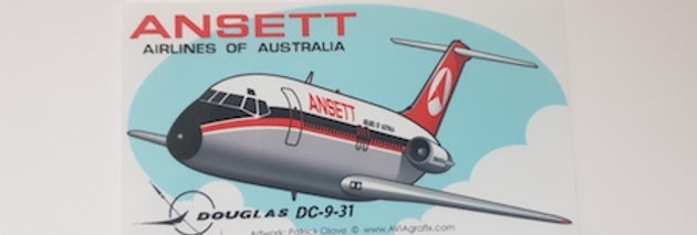 Ansett - Douglas DC-9-31 - Cartoon Sticker