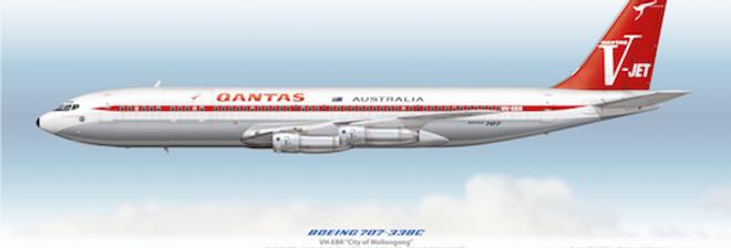 QANTAS - Boeing 707-338C VH-EBR - 1968 Livery