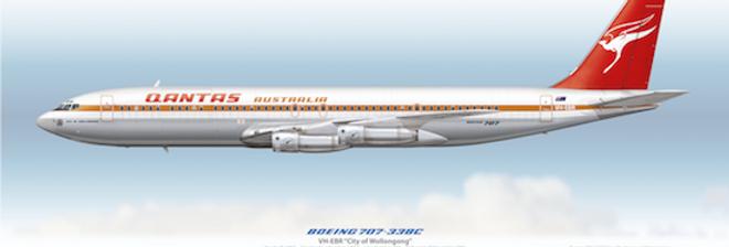 QANTAS - Boeing 707-338C VH-EBR - 1971 Livery