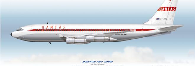 QANTAS - Boeing 707-138 VH-EBI - 1961 Interim Livery