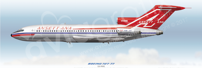 Ansett-ANA - Boeing 727-77 VH-RME - 1964 Livery