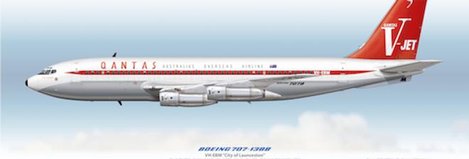 QANTAS - Boeing 707-138B VH-EBM - 1961 Livery