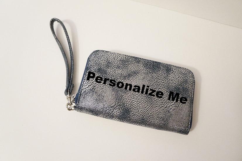 Teal & Silver Distressed Wristlet Wallet
