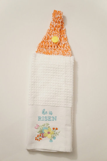 He Is Risen Crochet-Topped Towel