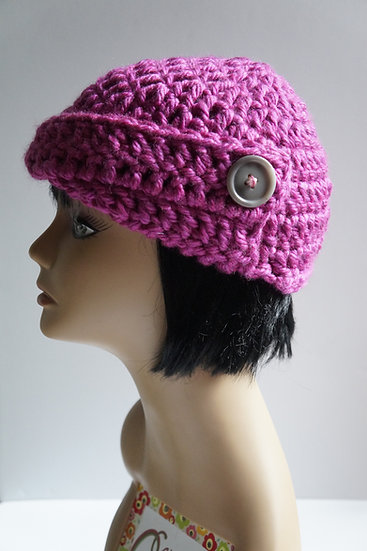 Crochet Cloche Hat Pink