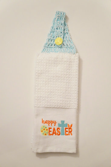 Happy Easter Crochet-Topped Towel