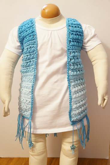 Ombre Boho Toddler Vest in Aqua