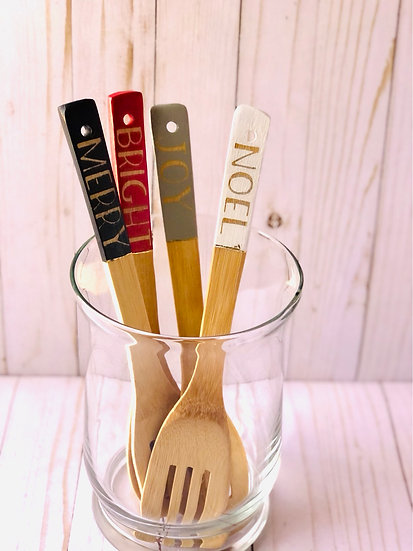 Farmhouse Christmas Bamboo Utensils