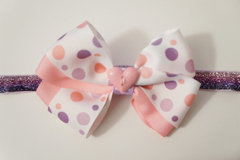 Cotton Candy Bow w/Headband