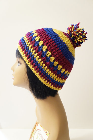 Retro Cool Pom Beanie Stripes