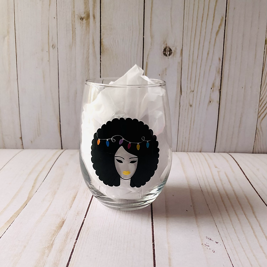 Hairy Christmas Stemless Wine Glass