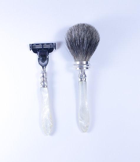 Mother of Pearl Mac 3 razor & Badger hair shaving brush.