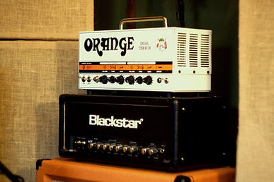 Orange Dual Terror and Blackstar HT5 guitar amplifier heads.